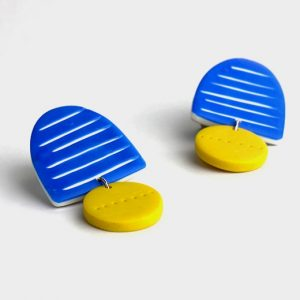 blue and mustard clay earrings