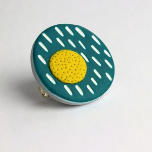 polymer clay brooch by nadege honey