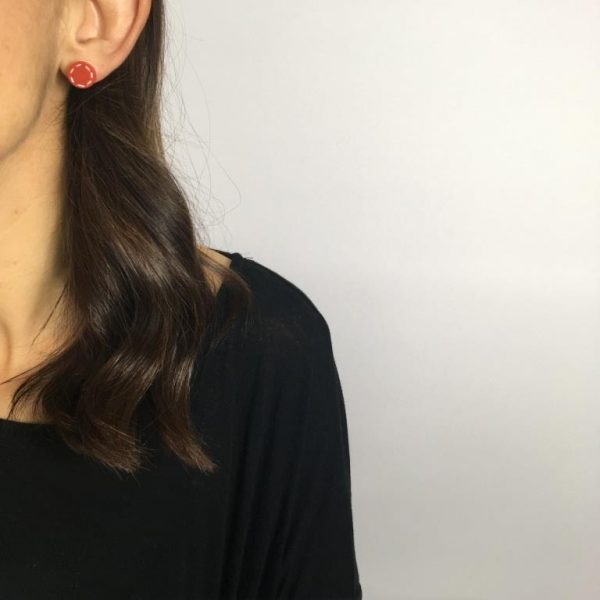 burnt orange stud earrings