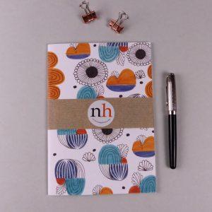 Notebook Abstract Blue Orange by Nadege Honey