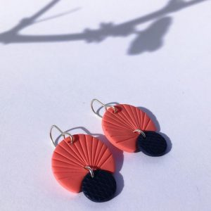 coral clay earrings by nadege honey