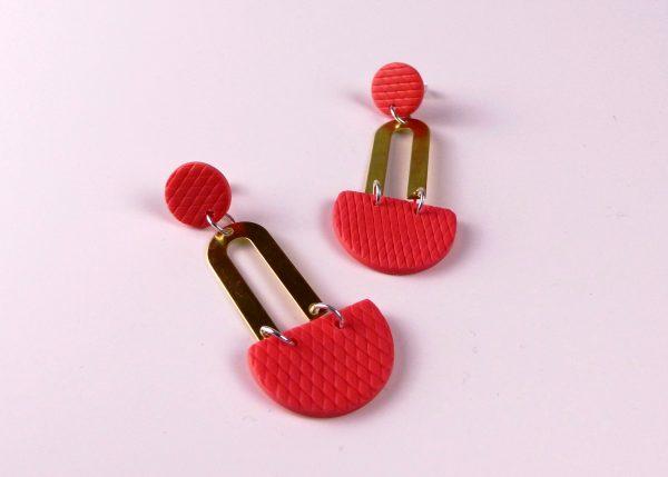 pink polymer clay earrings by nadege honey