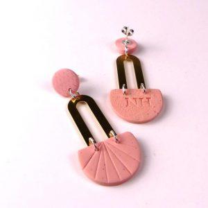 pink clay earrings by Nadege Honey